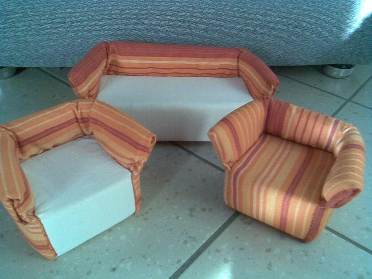 "Мебель для кукол - комплект мягкой мебели ""Апельсин"". Mobile per le bambole - kit di mobili imbottiti ""Arancio"""