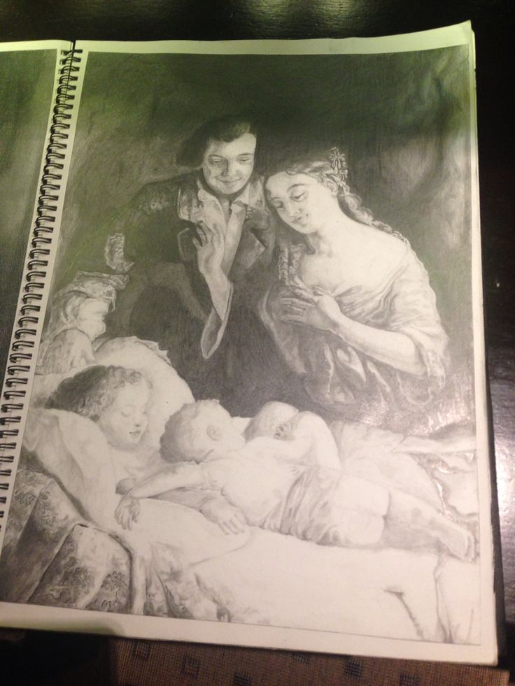 "Better version of my finished pencil drawing of ""Domestic Happiness"" by Lilly Martin Spencer"