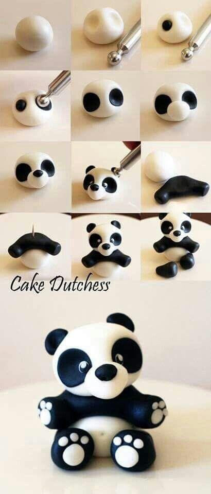 Que monada de #panda se puede hacer con un poco de #fimo blanco y negro
