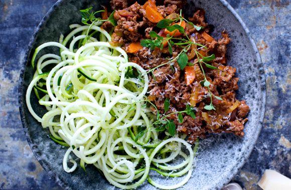 Bolognese med grøntsags-spaghetti