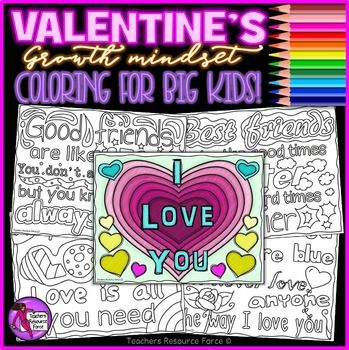 These Growth Mindset Valentines zen doodle coloring pages are a wonderfully motivating, encouraging and fun resource for your students to color and even share with the ones they love!Youd be amazed at the wonders it can do for students well-being and mindfulness just by giving them some time to color in these loving quotes no matter what their age - it is something that is very therapeutic and inspiring.