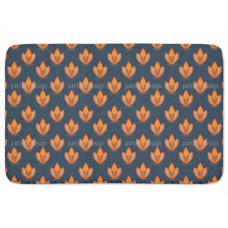 Uneekee Lotus Orange Bath Mat