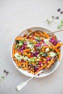 Loaded Sweet Potato Fries with Spicy Chickpeas & Green Tahini Sauce (Vegan + Gluten-Free) by The Green Life