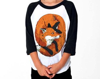 Illustrated FOX Children's 3/4 Sleeve Baseball Tee (Kid's Raglan T-shirt), by Vector That Fox