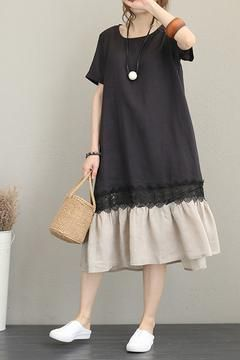 Casual Quilted Linen Dresses Women Fashion Clothes Q1187