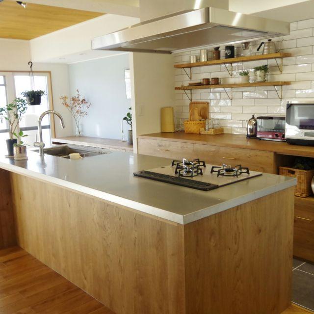 Kitchen アイランドキッチン 漆喰壁 北欧 北欧インテリア マンション
