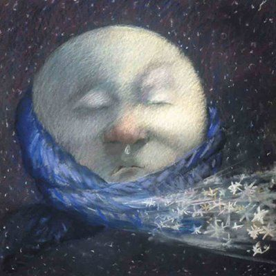 Cold Moon... or Moon with a Cold?! -- (sun, moon, stars, heavens, night, art, illustrations)