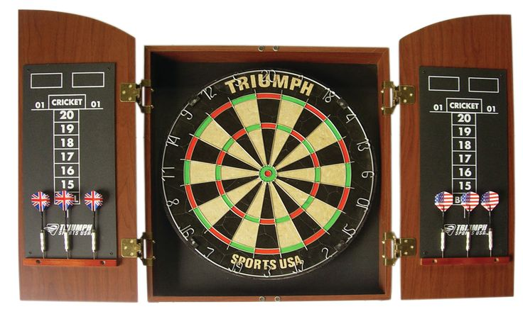 Wellington Bristle Dartboard with Arch Cabinet