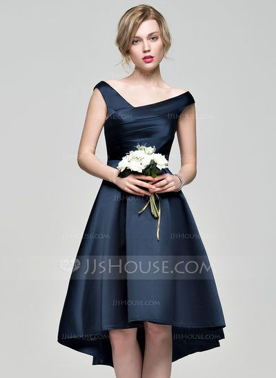 A-Line/Princess Off-the-Shoulder Asymmetrical Ruffle Zipper Up at Side Cap Straps Sleeveless No Dark Navy Spring Summer Fall General Plus Satin Bridesmaid Dress