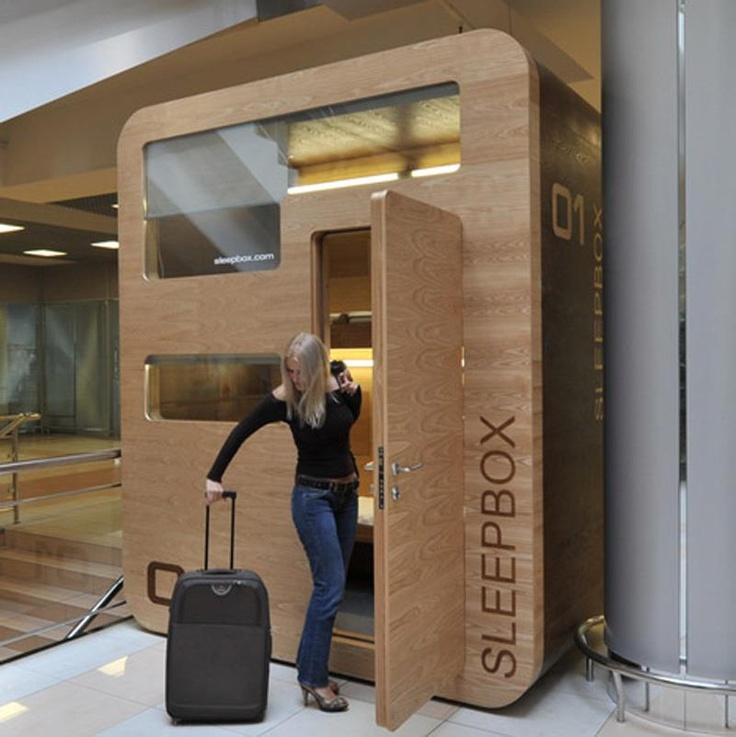 The Sleepbox is for napping at airports, train stations, and hostels. Space for luggage is under the bed, and each bed has a nightstand. Windows are equipped with electric-drive blinds for privacy. Hmmmmmmmm.