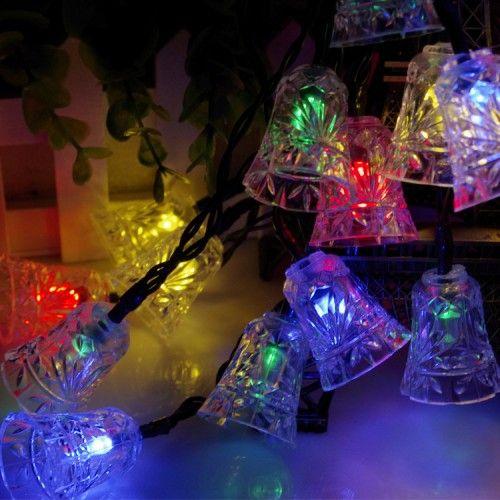 20 LED Solar String Lights Small Bells RGB