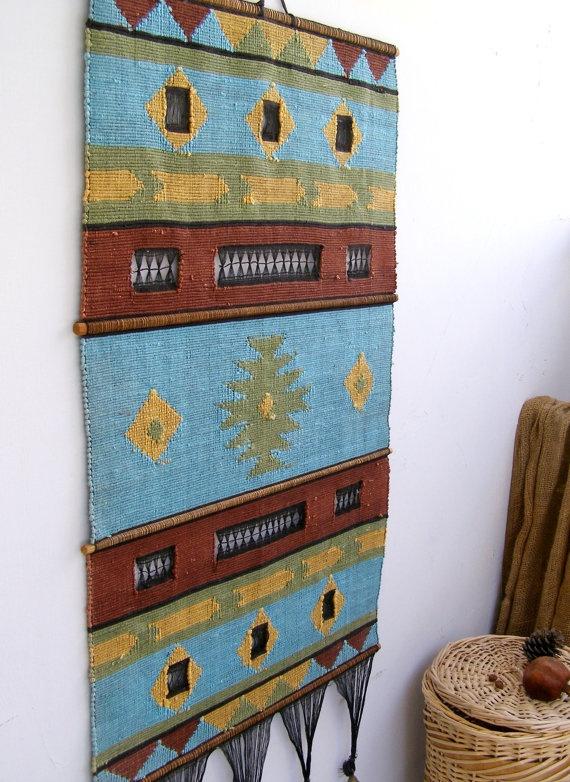 Vintage Tribal Wall Rug Geometric Boho Wall fabric by MeshuMaSH