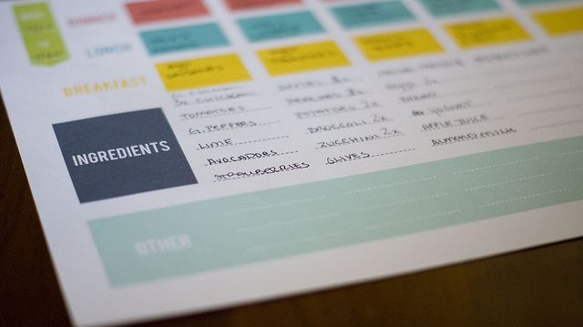Pringable menu planner