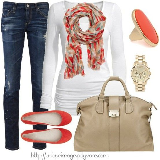 orange!: Shoes, Style, Color, Weekend Outfits, Fall Looks, Fall Outfits, Coral Casual, Scarves, Casual Outfits