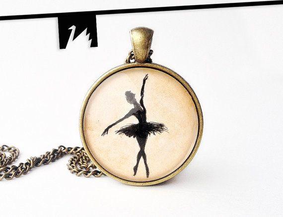 Ballerina pendant necklace Original painting under glass
