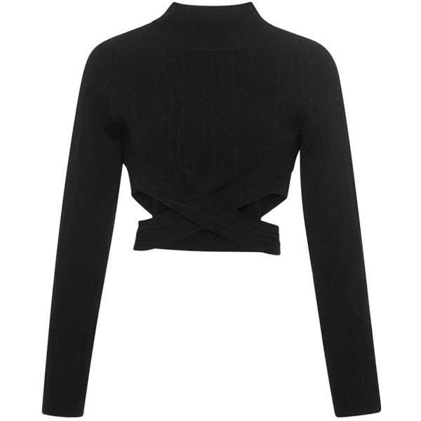 Jonathan Simkhai Wrap Spill Intarsia Turtleneck (7,335 MXN) ❤ liked on Polyvore featuring tops, crop tops, long sleeve wrap top, cut out crop top, black long sleeve top, wrap top en turtleneck tops