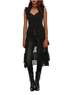 Black vest with a sheer, long ruffled back, lace-up detailing on the back and snap button closure.
