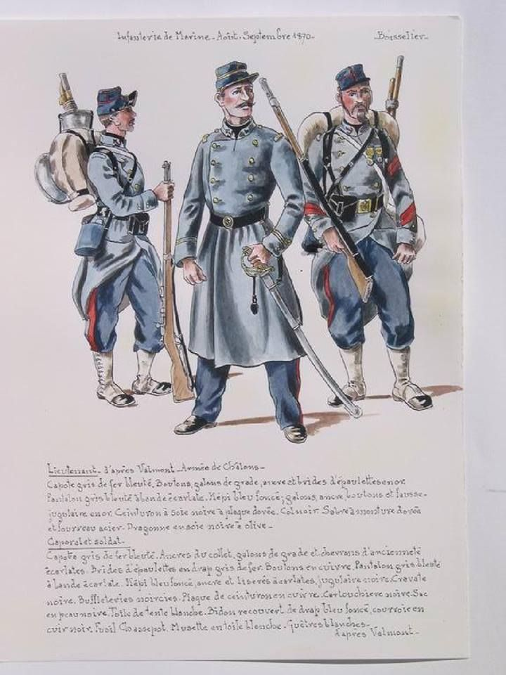 French; Marine Infantry, Marine, Lieutenant & Corporal, August-September 1870 by H.Boisselier