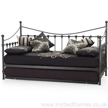Marseilles metal day #bed in black (optional extra trundle guest bed) #MyBedFrames