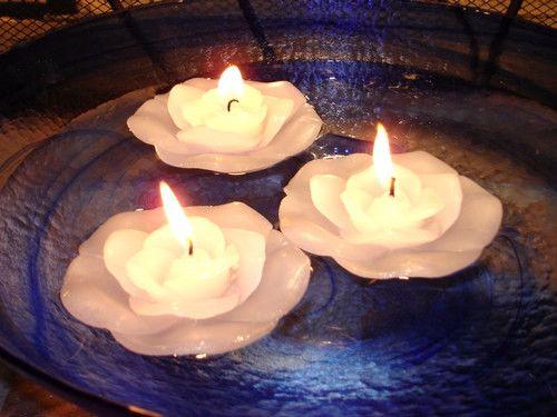48 White Rose Floating Flower Candles - Wedding