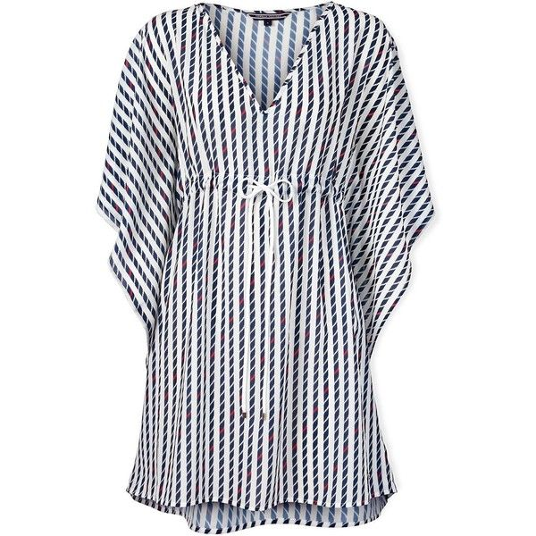 Tommy Hilfiger Fedro Rope Print Tunic ($44) ❤ liked on Polyvore featuring tops, tunics, dresses, navy, print top, beach tops, beach slip, tommy hilfiger ve nautical tops
