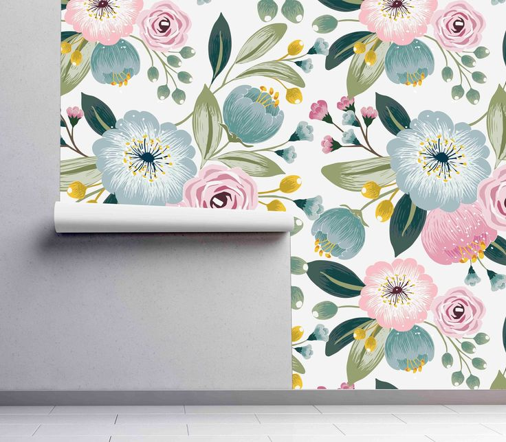 Removable Wallpaper Vintage Field Flowers Mural Wallpaper Etsy Wall Painting Decor Watercolor Wallpaper Mural