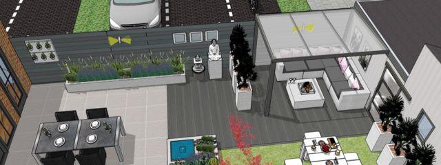 3D Tuinontwerp achtertuin hoekhuis