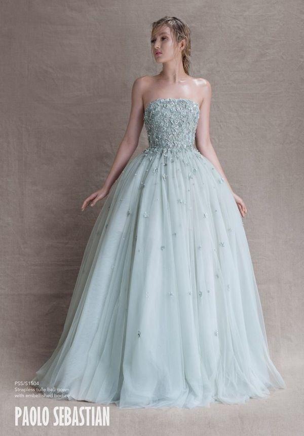 Gorgeous powder blue wedding dress by Paolo Sebastian | http://www.weddingpartyapp.com/blog/2014/10/29/paolo-sebastian-wedding-dresses-whimsical/
