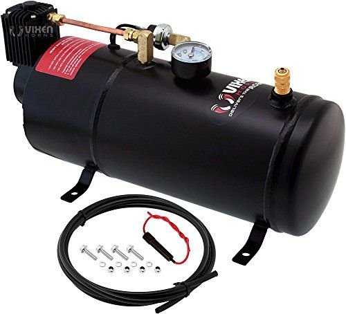 Vixen Horn 1 Gallon (3 Liter) Train/Air Horn Tank with 150 PSI Compressor Onboard System/Kit 12V VXO8210:   Air Tank & 12 volt Compressor on-board system. This Air kit is designed for use with any high-pressure Air Horns that require an onboard air system. Comes with 1 gallon (3 liter) air tank, 150 psi heavy duty compressor, air pressure gauge, pressure switch, hose and mounting hardware. Ideal for SUV, Truck, RV, Marine and more. 1 Gallon Air Tank with 150 PSI Air Compressor Max Pres...