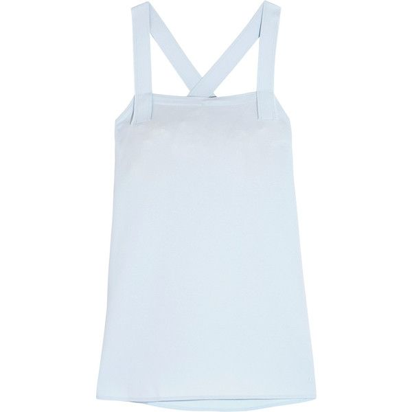 Helmut Lang Crepe top ($400) ❤ liked on Polyvore featuring tops, sky blue, strappy top, surplice top, crepe top, relaxed fit tops and helmut lang top