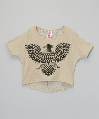 Look what I found on #zulily! Beige Tribal Eagle Lace Hi-Low Crop Top - Girls by American Kids #zulilyfinds
