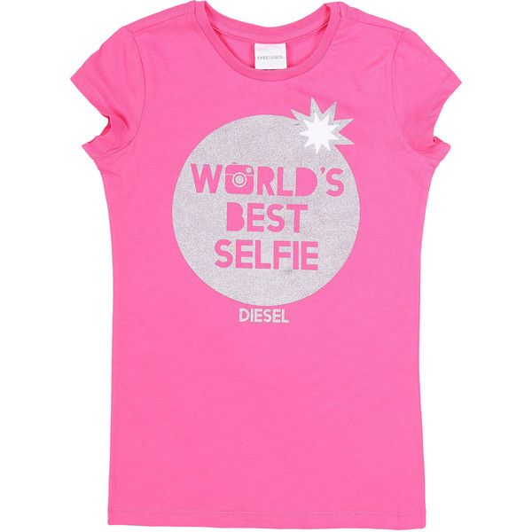 Diesel TABI T's & Tops (€19) ❤ liked on Polyvore featuring apparel, girls, junior 4-16 years, kids, pink fluorescent and t's & tops