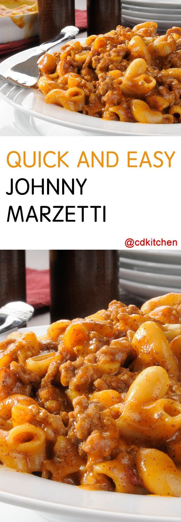 Quick and Easy Johnny Marzetti - Johnny Marzetti, aka goulash, is hamburger helper all grown up! A can of tomato soup brings deep tomato flavor to this comfort food pasta, and it's perfect with a little hot sauce for an extra kick.| CDKitchen.com