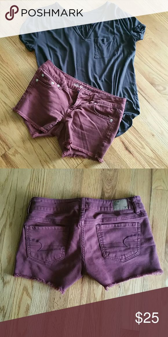 Maroon cut off shorts Maroon shorts great condition, minor fading. Festival ready!   Waist measures approximately 15 inches  inseam measures approximately 3 inches American Eagle Outfitters Shorts Jean Shorts