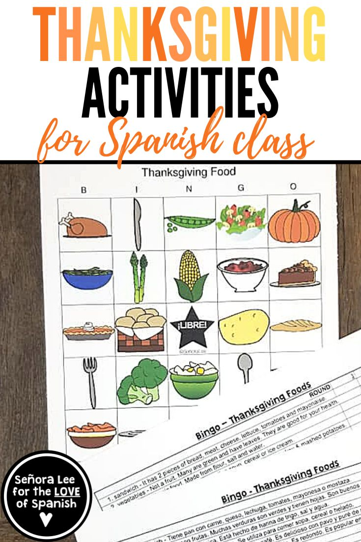 Spanish Thanksgiving Activities - Practice the names of ...