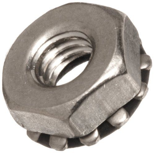 """Stainless Steel 303 Hex Nut, #6-32 Thread Size, 0.312"""" Width Across Flats, Pack Of 25 by Small Parts. $9.09. Stainless steel 303 bartite sealing nut with 0.348"""" OD external lock washer has a patented  thermosetting plastisol seal for superior leak and pressure protection. It withstands 12,000 psi hydrostatic pressure and provides a wide working temperature range, from -60 degrees F to +250 degrees F. It also includes an external lock washer for security. Seal resists wat..."""