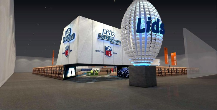 For the second year, LIDS looked to Image 4 to develop and implement this immersive retail environment. The Locker Room by LIDS debuted at Superbowl XLVII. Large scale brand and team graphics hung from the New Orlean's convention center ceiling, and a dynamic entrance greeted shoppers.