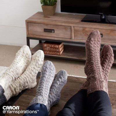 Caron Cozy Knit Cabin Socks Free Knitting Pattern