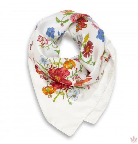 Versailles Square White Scarf. Luxury high quality made in Italy by Fulards free shipping.