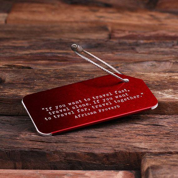 Etiqueta de equipaje personalizada viajes, Navidad, regalo de cumpleaños para hombres, mujeres, adolescentes o regalo corporativo regalo (024786) rojo media embutidora