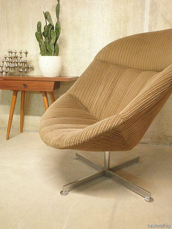 Rohe vintage design fauteuil met hocker |