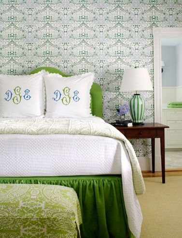 Green bedroom with monogrammed linens...different color but great idea for Rose!