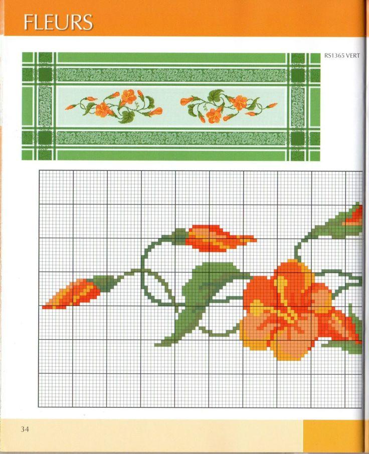 Cross stitch - flowers: Bindweed (part 1)