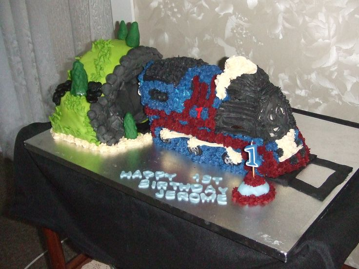 child's' 1st birthday party was a upstanding train with a tunnel was done recently  Cakes For All Occasions Mosgiel Otago  New Zealand  website: www.icedcakes.co.nz