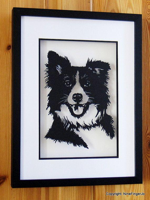 Custom Pet Portrait Papercut Custom Pet Portrait by NineFingerJo