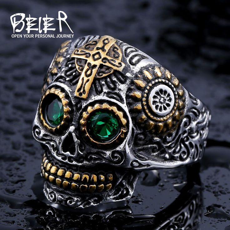 Beier anillo del cráneo del motorista del acero inoxidable 316l anillo de los hombres venta caliente de la joyería de moda hombre de br8-327