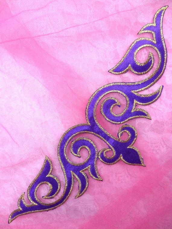GB276 Appliqués à broder violet or fer métallique par gloryshouse