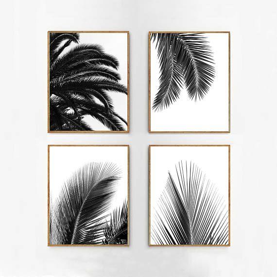 Palm blad afdrukken instellen zwart wit tropische gebladerte
