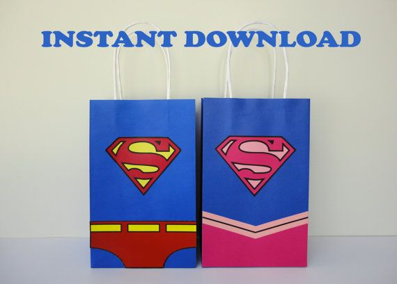 DIY SuperGirl/ Superman Party Favor Bags/ Supergirl Birthday Party Decorations/ Ideas/ Favors/ Party Goodie/ Goody/ Loot/ Candy/ Treat/ Favor Bags/ Boxes/ Party Supplies/ Supergirl cake/ cupcake toppers/ favor/ bottle labels/ tags/ stickers/ cookies/ birthday banner/ printable supergirl and superman party invite/ invitations/ fiesta/ festa/ ideas/ pink supergirl/ backdrop/ photo props/ pastel/ bolo/ convite