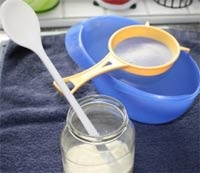You have let the kefir sit for about 24 hours. You have to stir the milk and grains before performing the straining process. Make sure you stir them well using a spoon with a really long handle. Want to know where to buy kefir grains? Go to the following website.  www.howtomakekefirathome.info